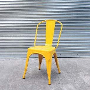 Kit 4 Cadeira Para Mesa De Jantar Cozinha Sala Escrivaninha Tolix Iron Industrial Amarela