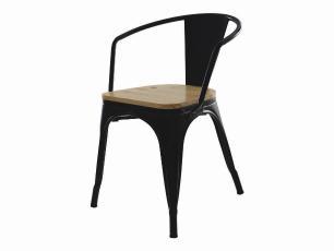 Kit 2 Cadeiras Tolix Iron Industrial Preta Com Braço Assento De Madeira