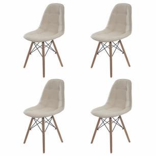 Kit 4 Cadeiras Charles Eames Botone Creme Base Madeira