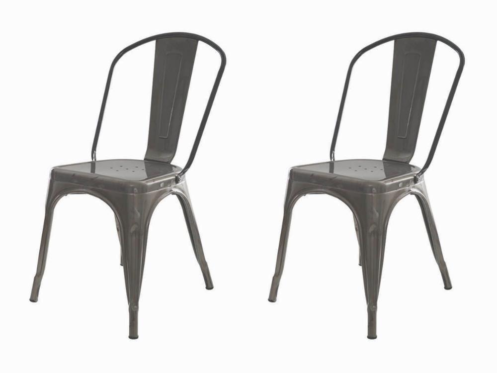 Kit 2 Cadeiras Tolix Iron Industrial Metal Envelhecida