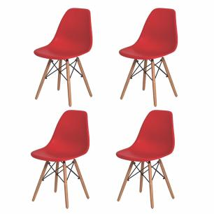 Kit 4 Cadeiras Charles Eames Eiffel Vermelha Base Madeira
