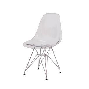 Cadeira de Jantar Eiffel Eames DSR Transparente Base Cromada