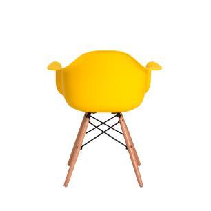 Kit 3 Cadeiras Charles Eames Eiffel Com Braço Amarela Base Madeira