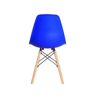 Kit 6 Cadeiras Charles Eames Eiffel Azul Bic Base Madeira