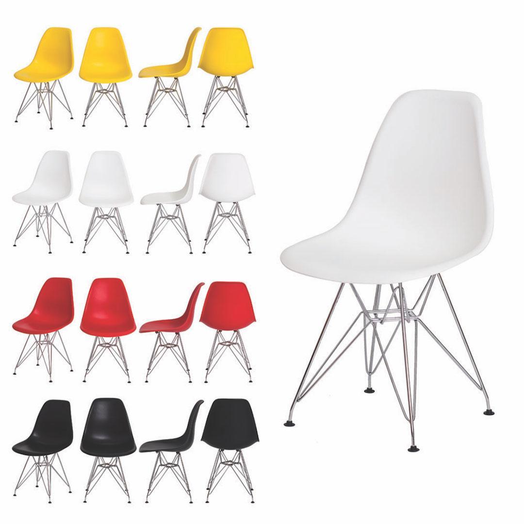 Cadeira Eiffel Dsr Eames Branco S/Braço Base Cromada