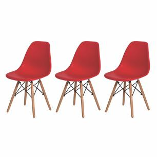 Kit de 3 Cadeiras Eiffel Eames DSW Vermelha Base Madeira