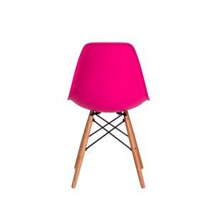 Kit 2 Cadeiras Charles Eames Eiffel Pink Base Madeira