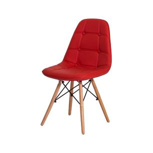 Cadeira de Jantar Eiffel Botonê Eames DSW Vermelha Base Madeira