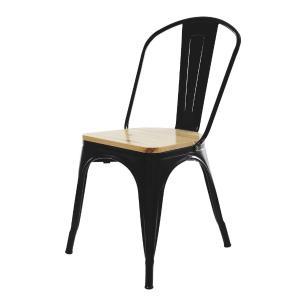 Kit 3 Cadeiras Tolix Iron Industrial Preta Assento De Madeira