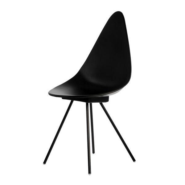 Cadeira de Jantar Design Jacobsen Drop Preta