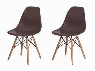 Kit 2 Cadeiras Charles Eames Eiffel Marrom Base Madeira