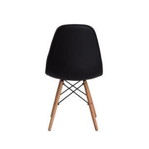 Kit 2 Cadeiras Charles Eames Eiffel Botone Base Madeira Preta