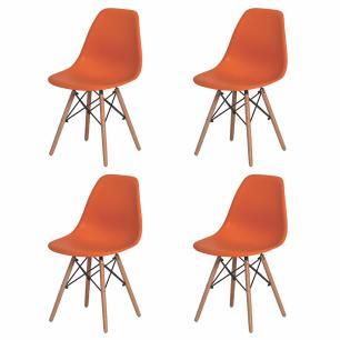 Kit 4 Cadeiras Charles Eames Eiffel Laranja Base Madeira