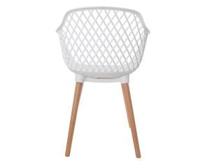 Cadeira Vision Com Braço Base Madeira Branca