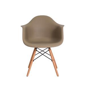 Kit 3 Cadeiras Charles Eames Eiffel Com Braço Nude Base Madeira