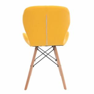 Kit 3 Cadeiras Charles Eames Slim Base Madeira Amarela