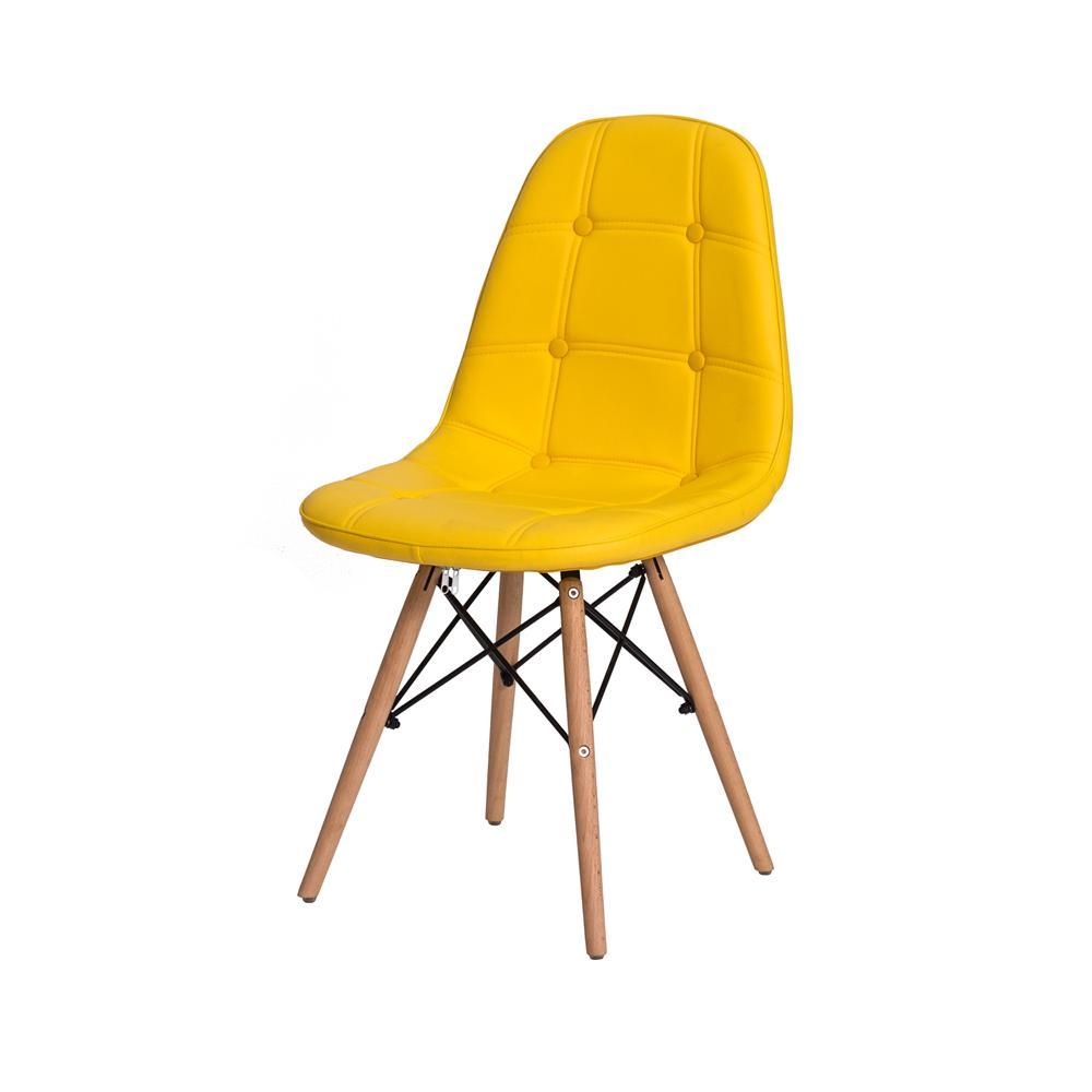 Cadeira Charles Eames Botonê Amarela Base Madeira