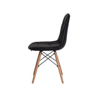 Cadeira Charles Eames Botonê Preta Base Madeira
