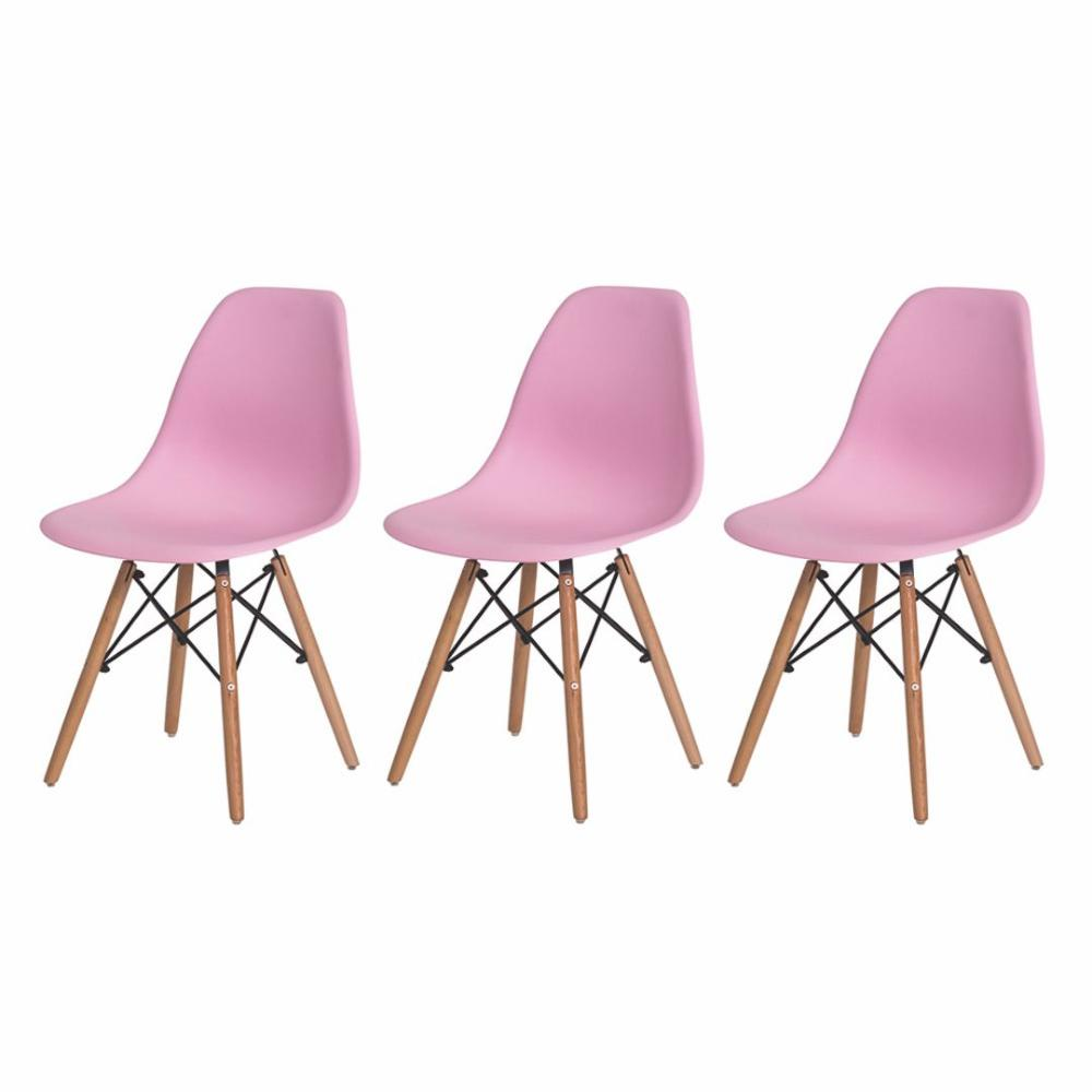 Kit de 3 Cadeiras Eiffel Eames DSW Rosa Claro Base Madeira