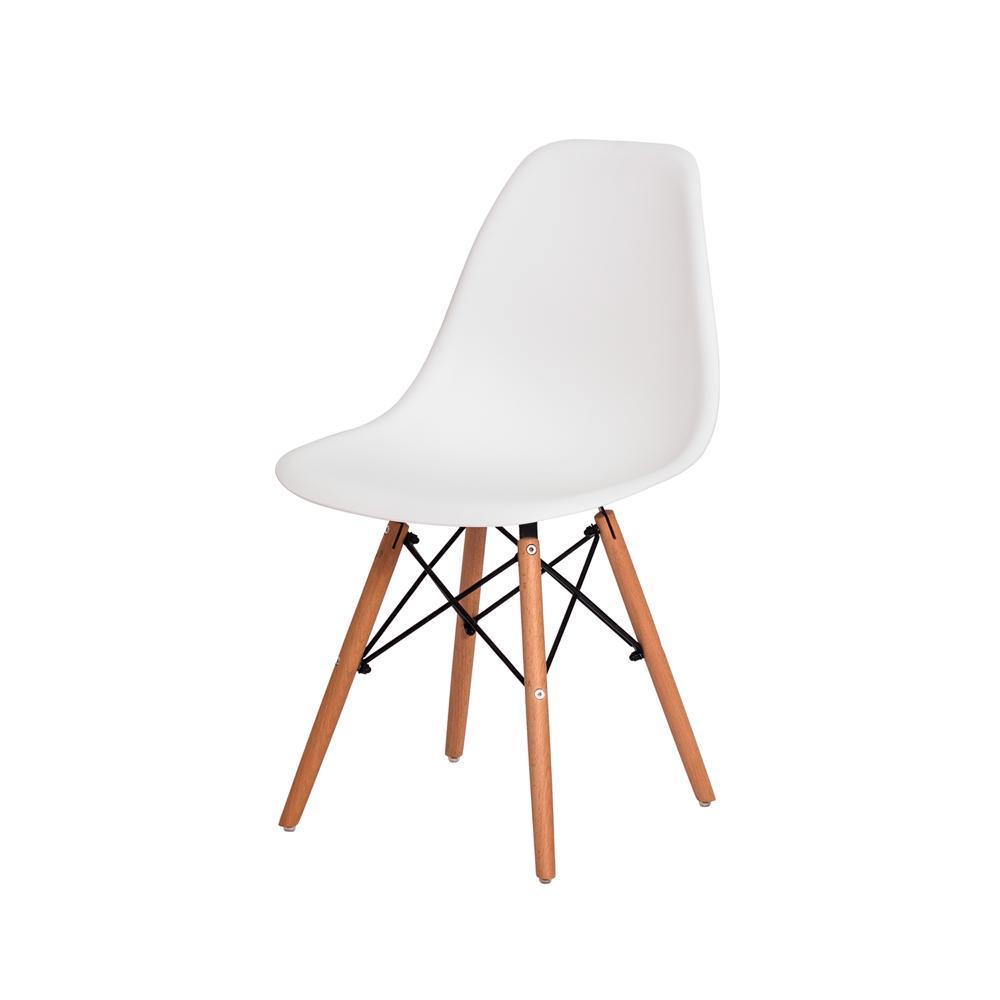 Kit com 2 Cadeiras Eiffel base madeira Branca