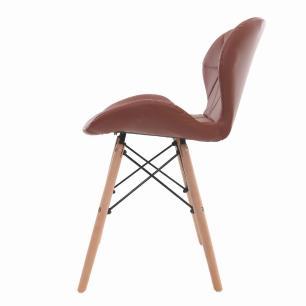 Cadeira Charles Eames Slim Base Madeira Marrom Café