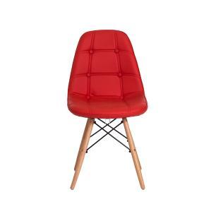 Kit 2 Cadeiras Charles Eames Eiffel Botone Base Madeira Vermelha