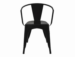 Kit 2 Cadeiras Tolix Iron Industrial Preta Com Braço