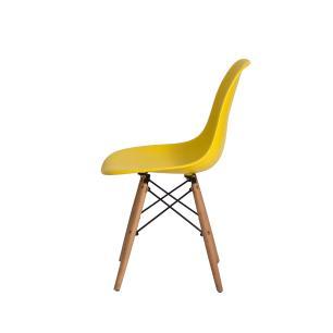 Cadeira Charles Eames Eiffel Amarelo Base Madeira