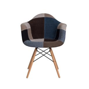 Cadeira De Jantar Charles Eames Eiffel Patchwork Com Braço Azul
