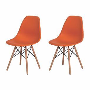 Kit 2 Cadeiras Charles Eames  Eiffel Laranja Base Madeira