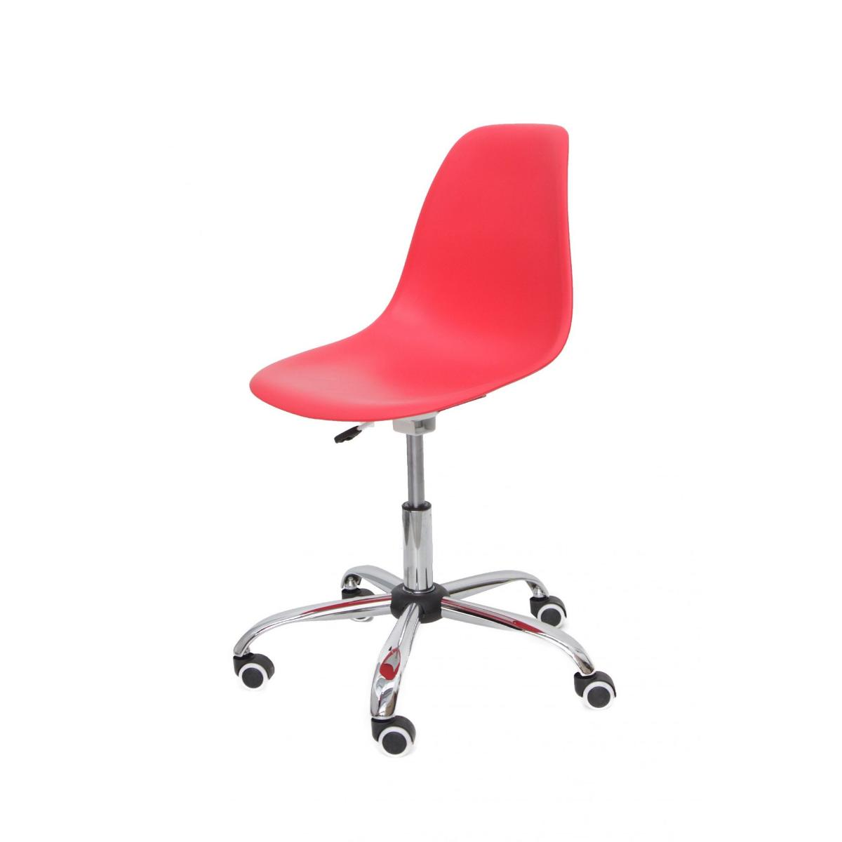 Cadeira Eiffel Office Eames Vermelha Base Cromada Giratória