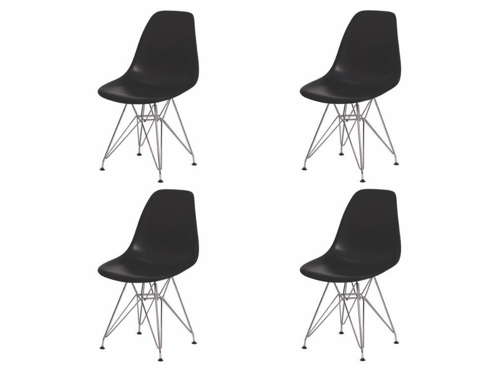 Kit 4 Cadeiras Eiffel Eames Preta Base Cromada