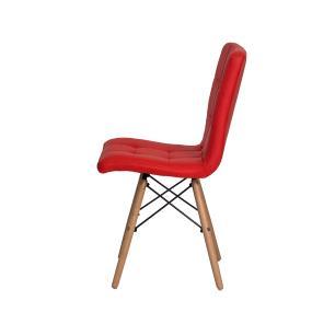 Cadeira De Jantar Charles Eames Gomos Vermelha Base Madeira
