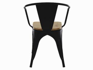 Kit 4 Cadeiras Tolix Iron Industrial Preta Com Braço Assento De Madeira