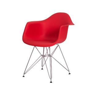 Cadeira Eiffel Com Braço Base Cromada Cor Vermelha