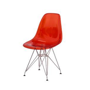 Cadeira De Jantar Charles Eiffel Eames DSR Vermelho Translúcido Base Cromada