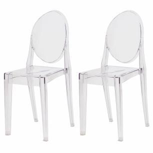Kit 2 Cadeiras Victoria Miss Sofia Ghost Transparente