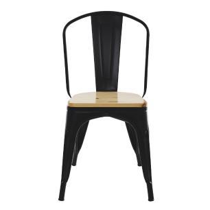 Kit 4 Cadeiras Para Mesa De Jantar Cozinha Sala Escrivaninha Tolix Metal Industrial Preto De Madeira