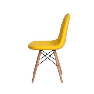Kit 3 Cadeiras Charles Eames Eiffel Botone Base Madeira Amarela