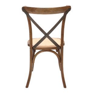 Cadeira Para Mesa De Jantar Cozinha Katrina Cross Paris Madeira Natural Assento Rattan Haste Metal