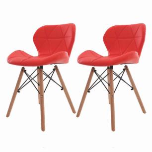 Kit 2 Cadeiras Charles Eames Base Madeira Slim Vermelha