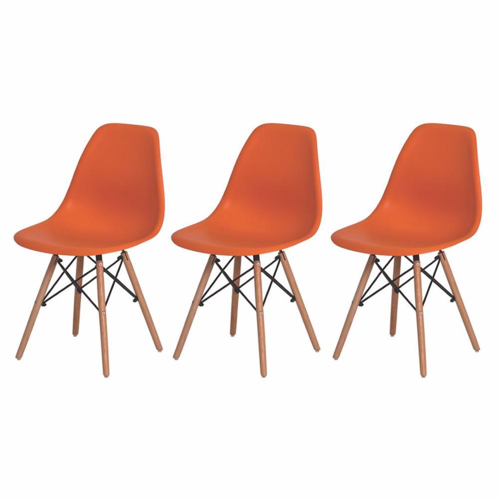 Kit de 3 Cadeiras Eiffel Eames  Laranja Base Madeira