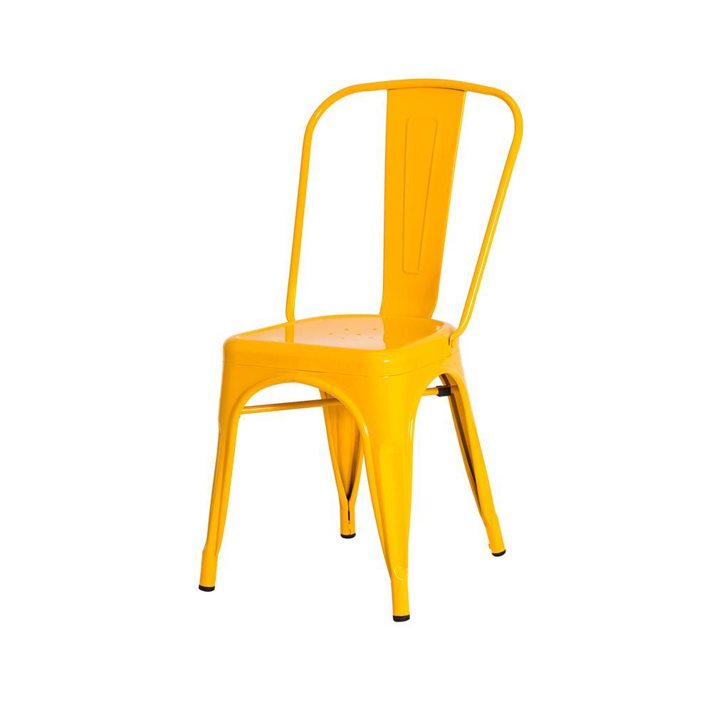 Cadeira Tolix Iron Industrial Amarela