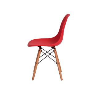 Kit 6 Cadeiras Charles Eames Eiffel Vermelho Base Madeira