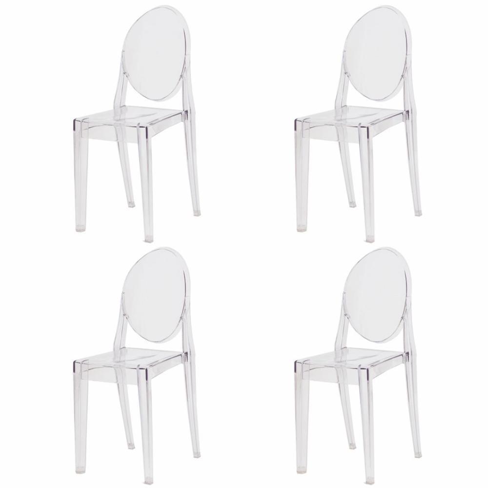 Kit 4 Cadeiras Victoria Miss Sofia Ghost
