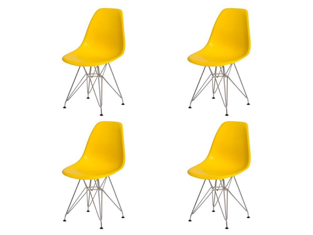 Kit 4 Cadeiras Eiffel Eames Amarela Base Cromada