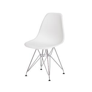 Cadeira de Jantar Eiffel Eames Branca Base Cromada