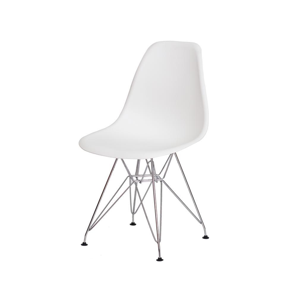 Cadeira Charles Eames Eiffel Branca Base Cromada
