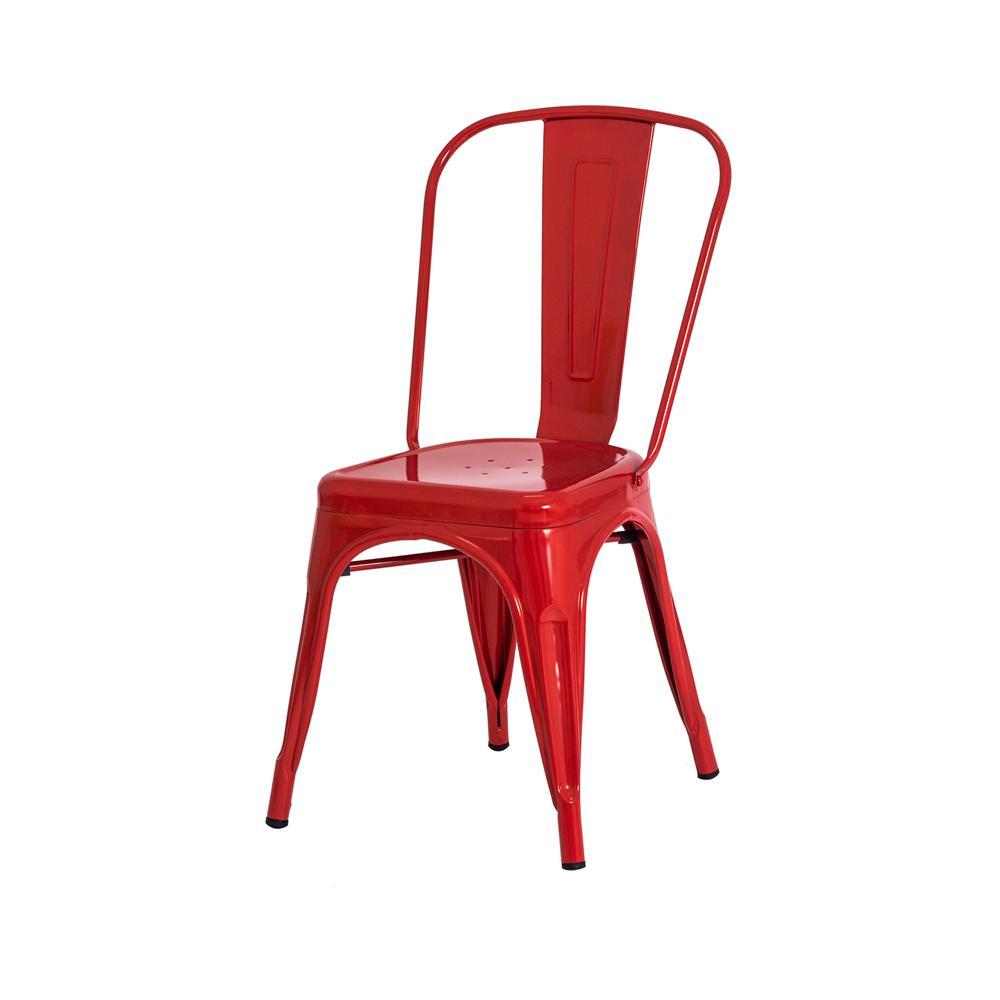 Cadeira Tolix Iron Industrial Vermelha