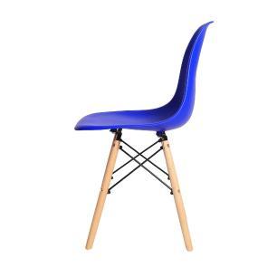 Kit 4 Cadeiras Eiffel Eames DSW Azul Bic Base Madeira